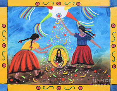 Oaxacan Painting - La Pinata by Sonia Flores Ruiz