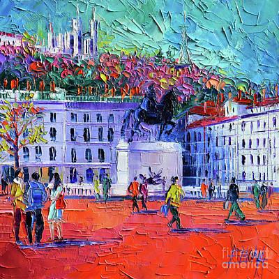 La Place Bellecour A Lyon Print by Mona Edulesco