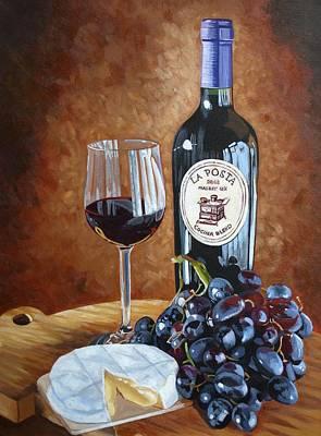 Glass Of Wine Painting - La Posta by Melanie Cossey