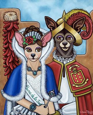 Chihuahua Dog Art Painting - La Reina Y Devargas by Victoria De Almeida