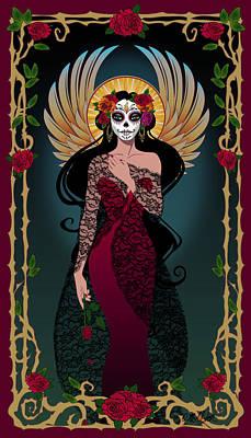 Calavera Digital Art - La Rosa by Cristina McAllister