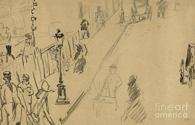 French Signs Drawing - La Rue Mosnier  by Edouard Manet