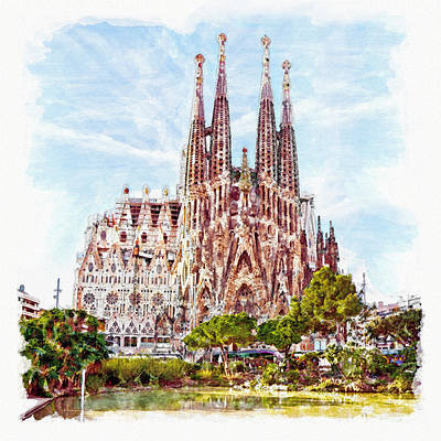 Barcelona Mixed Media - La Sagrada Familia by Marian Voicu