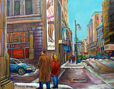 Montreal Winter Scenes Painting - La Senza Downtown Montreal by Carole Spandau
