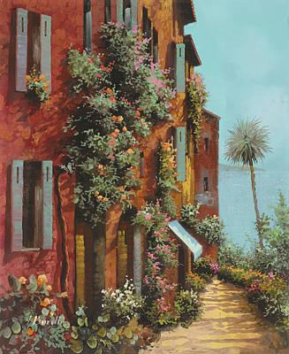 Street Painting - La Strada Verso Il Lago by Guido Borelli