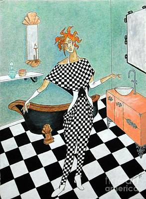 La Toilette -- Woman In Whimsical Art Deco Bathroom Print by Jayne Somogy