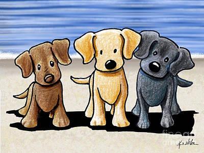 Black Labrador Drawing - Labrador Beach Trio by Kim Niles
