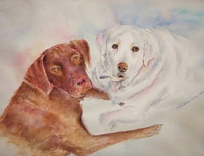 Chocolate Labrador Retriever Painting - Labrador Friends by Carolyn Gray