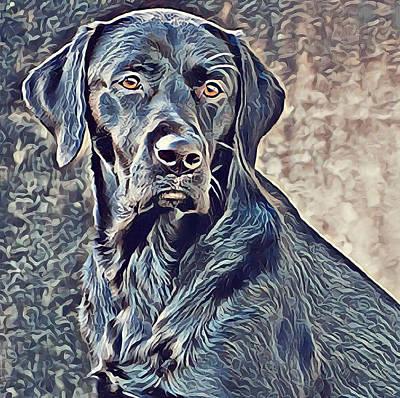 Labrador Retriever - Black Lab Dog Original by Mike Rabe