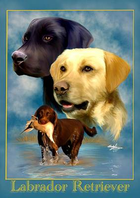 Yellow Lab Painting - Labrador Retriever With Name Logo by Becky Herrera