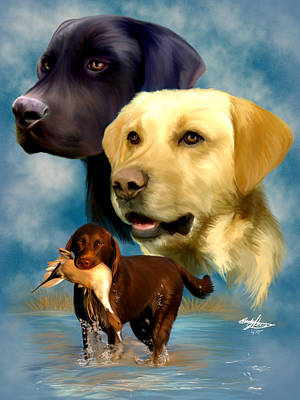 Breed Study Painting - Labrador Retrievers by Becky Herrera