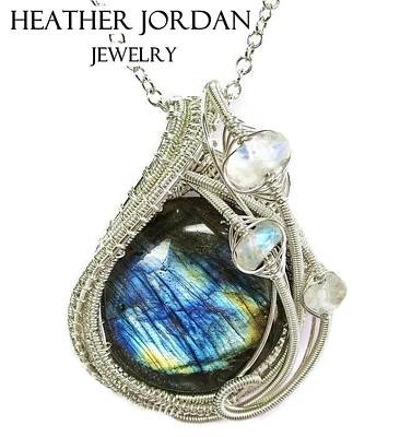 Sterling Silver Wrapped Pendant Jewelry - Labradorite And Sterling Silver Wire-wrapped Pendant With Rainbow Moonstone Labpss2 by Heather Jordan