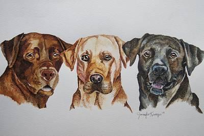 Black Lab Watercolor Painting - Labradors by Jennifer Krueger