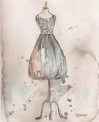Loose Painting - Lace Champagne Dress by Lauren Maurer
