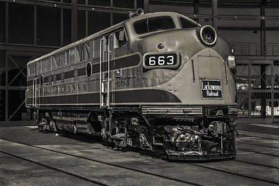 Lackawanna 663 Railroad Train Bw Print by Susan Candelario