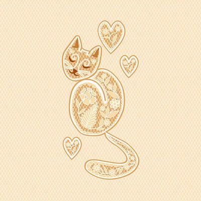 Kitten Digital Art - Lacy Tracy Gold Edition by Veronica Kusjen