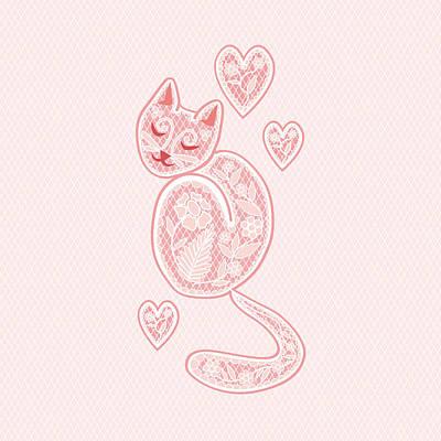 Kitten Digital Art - Lacy Tracy by Veronica Kusjen
