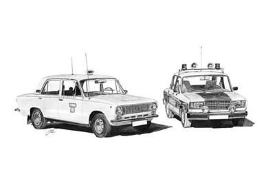 Lada Vaz 21011 Taxi 2107 Police Print by Gabor Vida