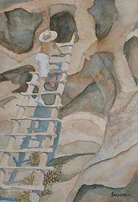 Ladder Painting - Ladder To The Past by Jenny Armitage