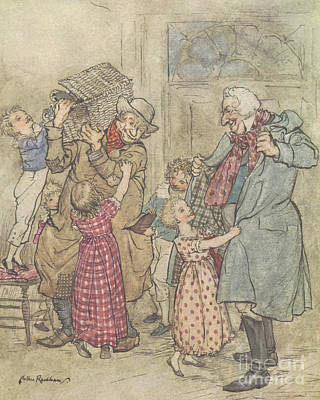 Happiness Drawing - Laden With Toys And Presents by Arthur Rackham