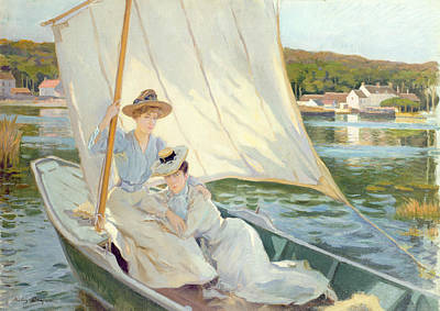 Boats In Water Painting - Ladies In A Sailing Boat  by Jules Cayron