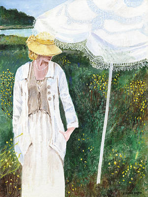 Hat Painting - Lady And The Umbrella by Arline Wagner