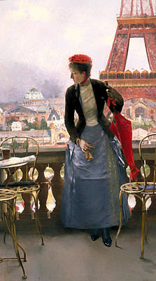 Beer Oil Painting - Lady At The Paris Exposition by Mountain Dreams