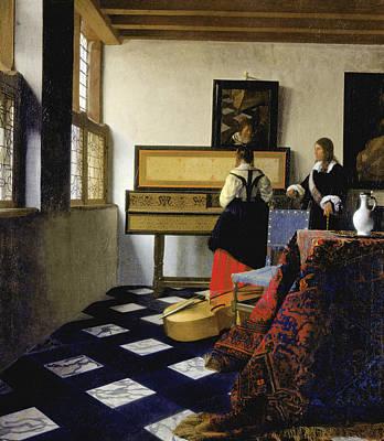 Lady At The Virginal With A Gentleman Print by Jan Vermeer