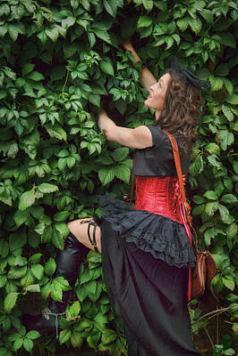 Western Chic Photograph - Lady Climbing Wall - Steampunk by Nikolyn McDonald