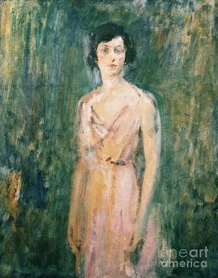 1927 Painting - Lady In A Pink Dress by Ambrose McEvoy
