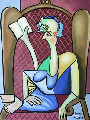 Girls Mixed Media - Lady In A Winged Back Chair by Anthony Falbo