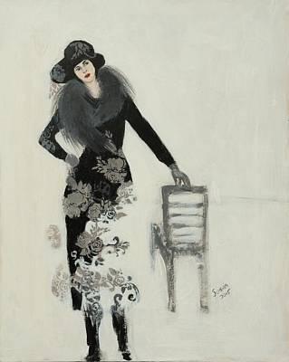 Lady In Black With Flowers Print by Susan Adams