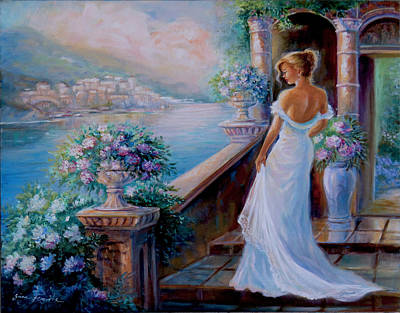 Villa By The Sea Painting - Lady In Blue by Regina Femrite