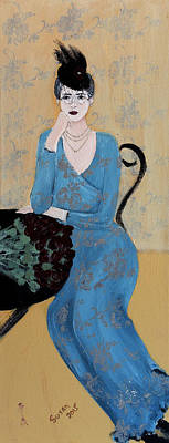 Lady In Blue Seated Print by Susan Adams