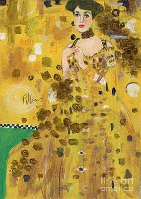 Lady In Gold Print by P J Lewis
