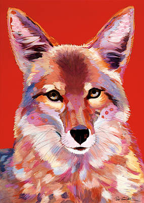 Abstract Coyote Painting - Lady In Red by Bob Coonts