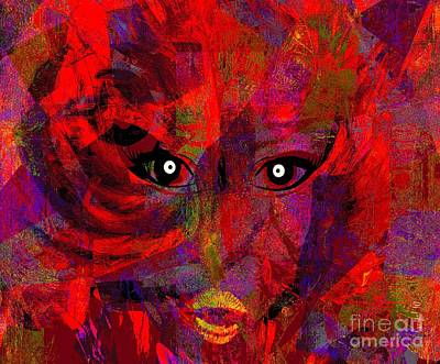 Faniart Africa America Mixed Media - Lady In Red  by Fania Simon