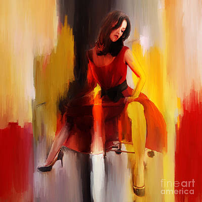 Women Painting - Lady In Red  by Gull G