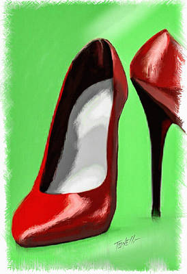 Lady In Red Shoes Print by Mark Tonelli