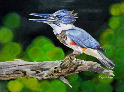 Kingfisher Painting - Lady Kingfishers Song by Phyllis Beiser