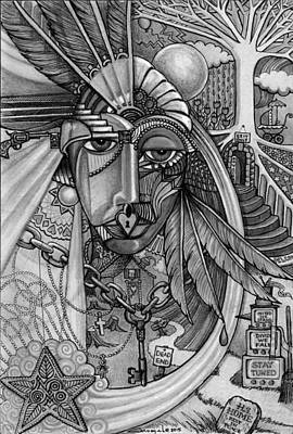 Tears Drawing - Lady Liberty - Bw by Caroline Czelatko