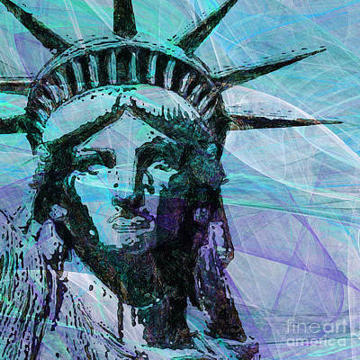 4th July Digital Art - Lady Liberty Head 20150928 Square P150 by Wingsdomain Art and Photography