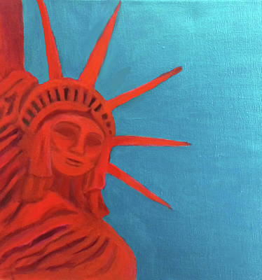 Americas Freedom Icon Painting - Lady Liberty by Margaret Harmon