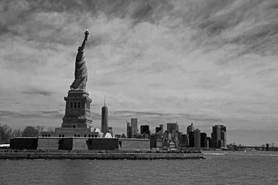 Liberty Island Digital Art - Lady Liberty Overlooking New York City Black And White by Toby McGuire