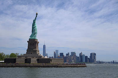 Liberty Island Digital Art - Lady Liberty Overlooking New York City by Toby McGuire