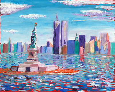 Twin Towers Nyc Painting - Lady Liberty by Preston Sandlin