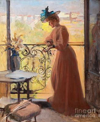 Lady On The Balcony Print by Celestial Images