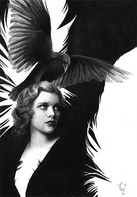Lady Raven Surreal Pencil Drawing Original by Thubakabra