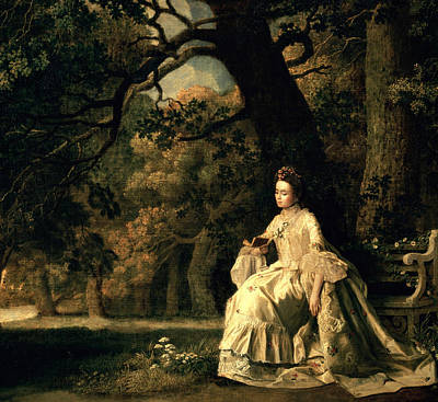 Silk Painting - Lady Reading In A Park by George Stubbs