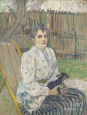 Gold Painting - Lady With A Dog by Henri de Toulouse